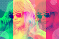 Art collage with alternative funky girl with overlay effect on bright multicolors background. Close up fashion portrait young beautiful woman in glasses. Unusual youth fashion concept