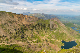 View from Mount Snowdon, with Glaslyn and Llyn Llydaw, Gwynedd, Wales, UK