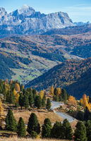 Autumn alpine Dolomites rocky  mountain scene, Sudtirol, Italy. Peaceful view near Gardena Pass.