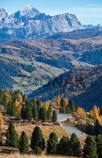 Autumn alpine Dolomites rocky  mountain scene, Sudtirol, Italy. Peaceful view near Gardena Pass.