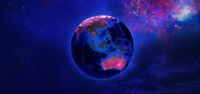 View of Earth from space in neon tone.
