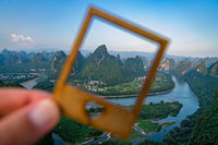Framed view of the Yangshuo landscape