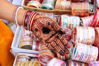Close up of hand with henna painting, Sadar Market, Jodhpur, India