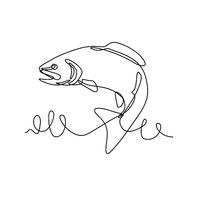 Rainbow Trout or Oncorhynchus Mykiss Jumping Up Continuous Line Drawing