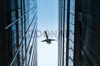 glass skyscraper and airplane