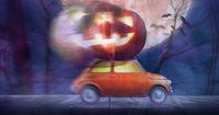 Halloween car delivering pumpkin
