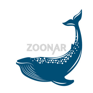 Whale. Vector illustration, flat style. Isolated on white.