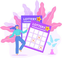 Lottery ticket, woman playing lotto, win icon flat style. Vector illustration