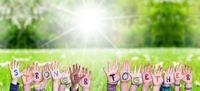Children Hands Building Word Stronger Together, Grass Meadow