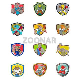 Cartoon Animals Industrial Jobs Set Collection Shield