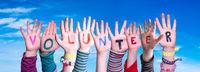 Children Hands Building Word Volunteer, Blue Sky