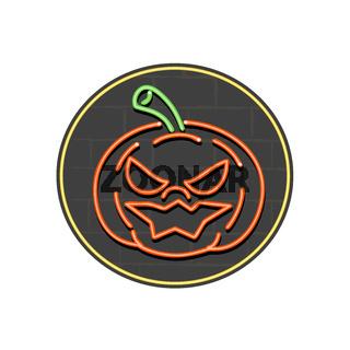 Jack-O-Lantern Neon Sign Circle
