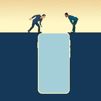 smartphone gadget Internet addiction. People on the edge of a precipice