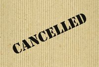 Cancelled on cardboard