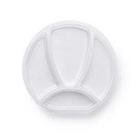Top view of four compartment white plastic plate