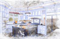 Beautiful Custom Kitchen Design Drawing Illustration Details