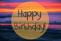 Sunset Or Sunrise At Sweden Ocean, Text Happy Birthday