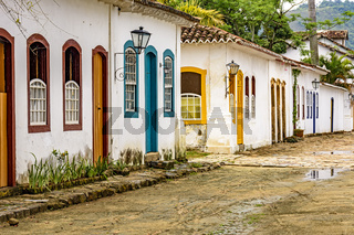 Old houses in colonial architecture and cobblestone streets on the old and historic city of Paraty