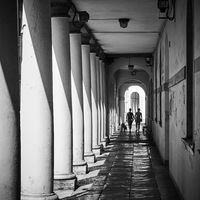 Perspective of covered gallery along a street in Treviso