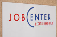 Jobcenter logo sign at Region Hannover office of german unemployment or employment agency