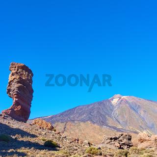 Teide volcano and Cinchado rock in Tenerife