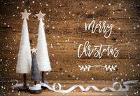 White Christmas Tree, Wooden Background, Text Merry Christmas, Snowflakes