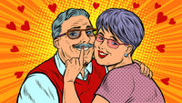 Old couple in love, Valentines day