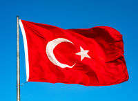 Turkish flag waving in the sky, Turkey.