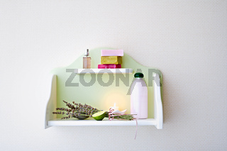 Shelf with skin care supplies