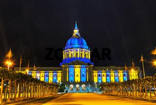 San Francisco city hall at night time
