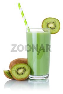 Kiwi green smoothie fruit juice drink straw kiwis in a glass isolated on white