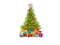 christmas tree on white background - 3d rendering