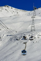 Seilbahn von Curtinatsch zum Piz Lagalb, Skigebiet Diavolezza-Lagalb, Pontresina,Engadin, Schweiz