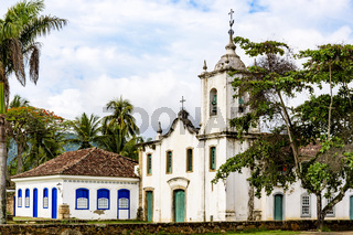 Famous churche between th vegetation in the ancient and historic city of Paraty