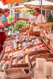 Stand with sausages on the market in Gordes