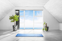 Indoor yoga scene with a blue mat in a bright room