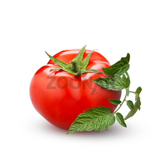 tomato with green leaf isolated on white