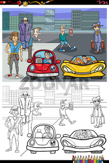 cartoon people on the street coloring book page