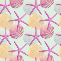 Seamless l design with Sea Shells and Sea Stars for background