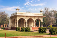 Sawan Pavilion in the Red Fort of Delhi park, India
