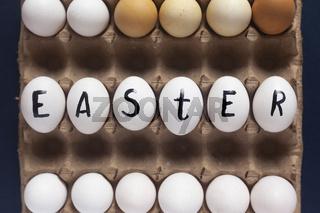 Happy easter. Easter festive eggs in carton