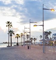 Promenade twilight people Paphos, Cyprus