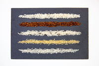 Rice collection on slate plate.