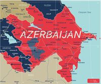 Azerbaijan country detailed editable map