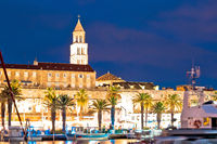 Split Riva waterfront and cathedral tower evening view