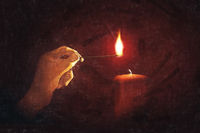 light a candle for someone digital painting
