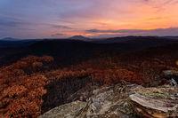 Sunset over charred landscape after bush fires in Australia