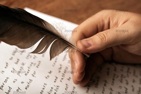 writer writes a fountain pen on paper work