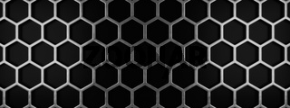 Metal honeycomb grid on a black background
