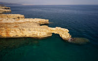 Aerial view on stone arch Kamara near Geropotamos beach on Crete, Greece.